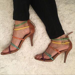 Nine West Multi-Colored Heeled Strap Sandals